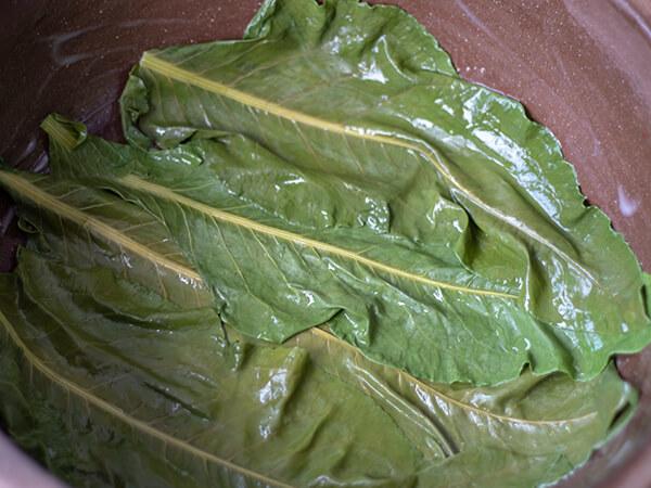 Listovi zelja poređani na dno zemljanog sača